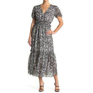 NSR Ruby Floral Print V-Neck Tiered Maxi Dress